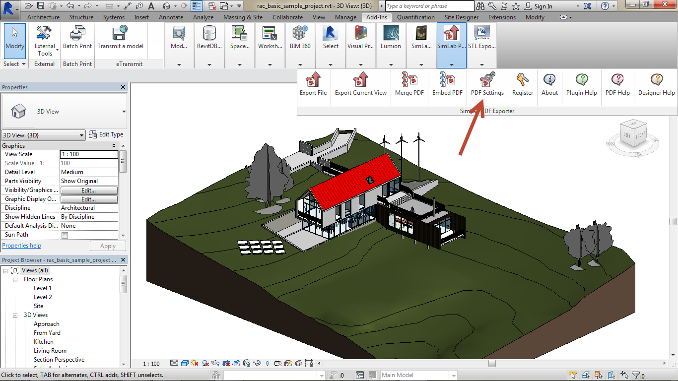 Export Revit Models to 3D PDF SimLab 01