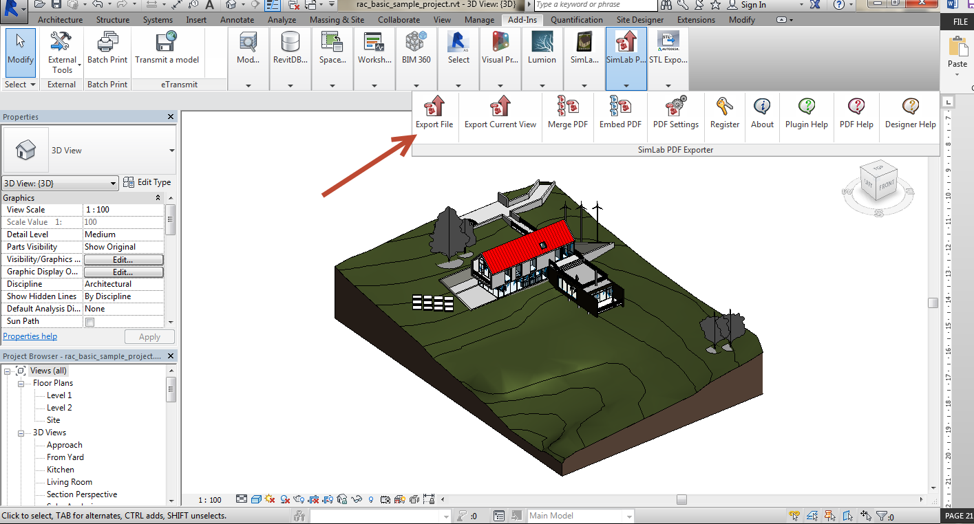 Export Revit Models to 3D PDF SimLab 05