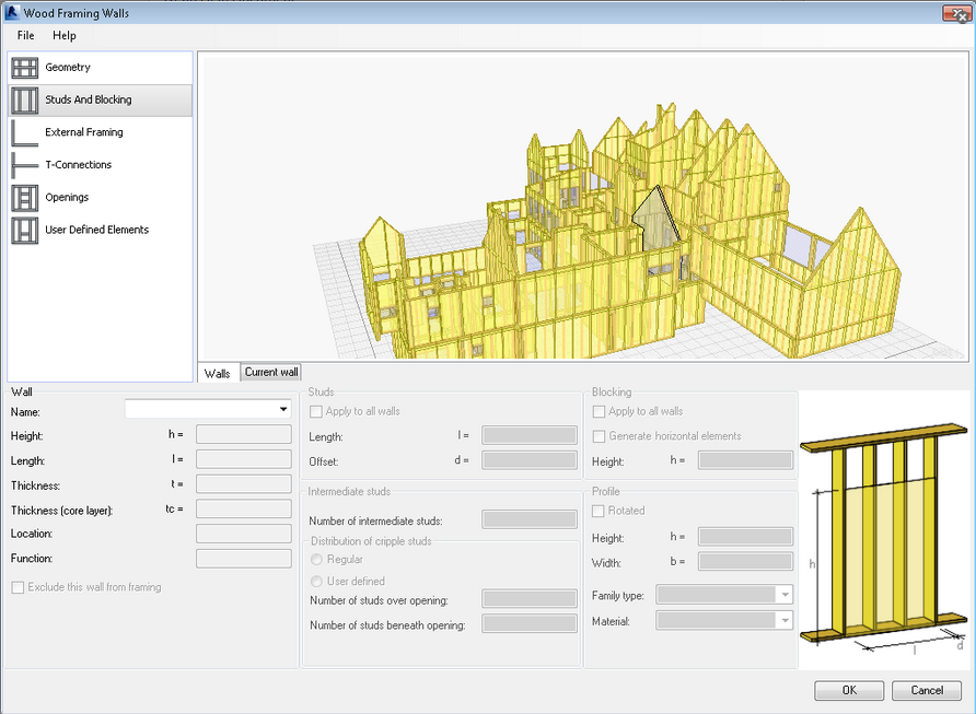 Revit-Wood-Framing-Wall-extension-tool-01 How to use your own sections in the Revit Wood Framing Wall extension tool