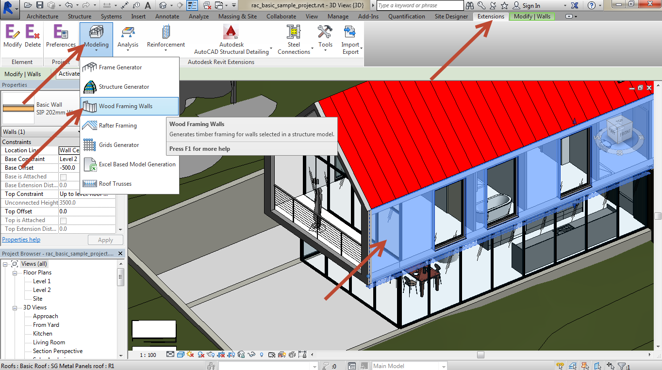 Revit-Wood-Framing-Wall-extension-tool-06 How to use your own sections in the Revit Wood Framing Wall extension tool