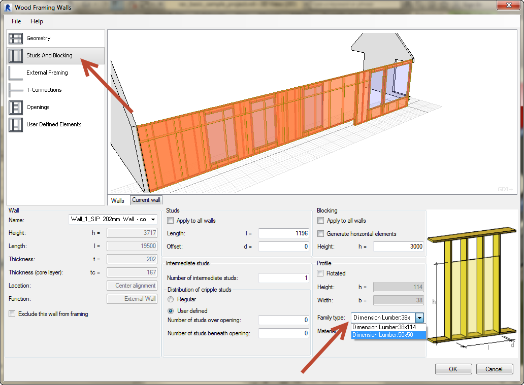 Revit-Wood-Framing-Wall-extension-tool-08 How to use your own sections in the Revit Wood Framing Wall extension tool
