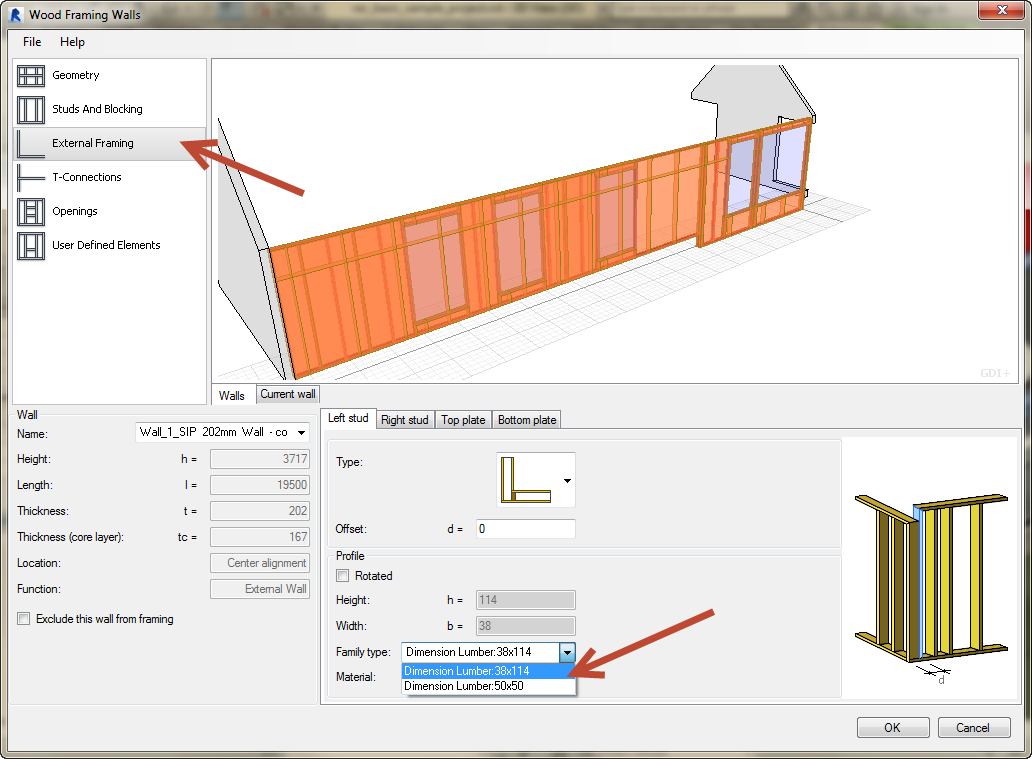 Revit-Wood-Framing-Wall-extension-tool-09 How to use your own sections in the Revit Wood Framing Wall extension tool