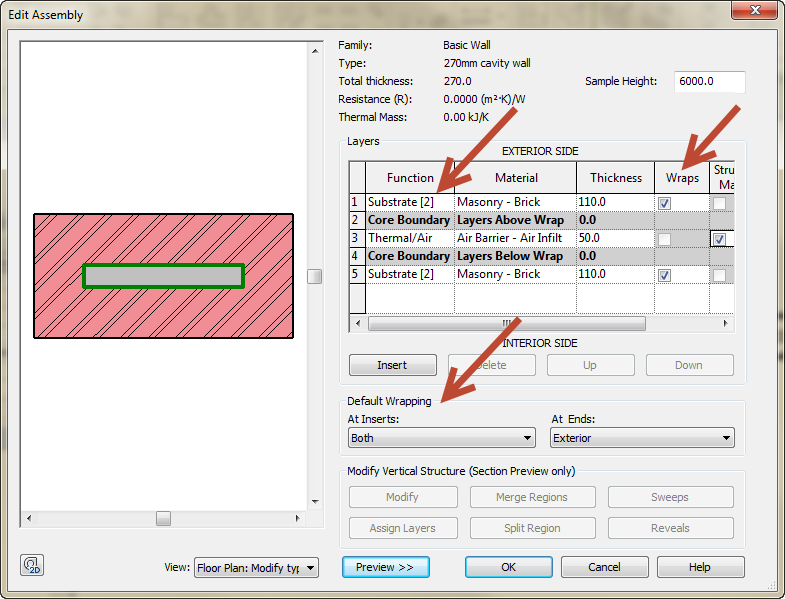 South African cavity- and internal wall types in Revit 02