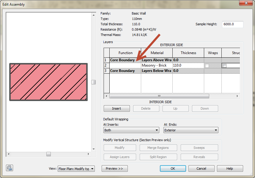 South African cavity- and internal wall types in Revit 03
