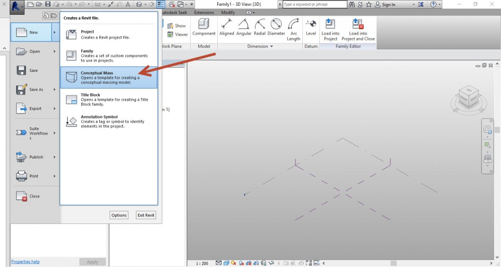 1-create-Conceptual-mass-1024x546 Creating an adaptive mass model in Revit