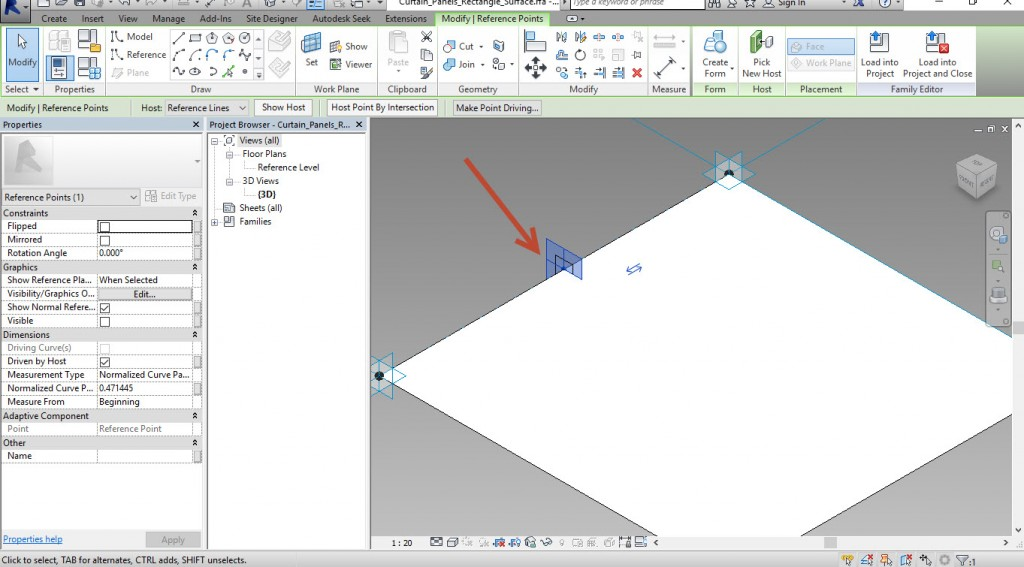 10-Select-the-point-and-draw-a-rectangle-1024x567 Creating an adaptive mass model in Revit