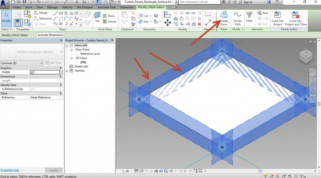 11-select-the-rec-and-the-4-sides-and-Create-form-1024x570 Creating an adaptive mass model in Revit