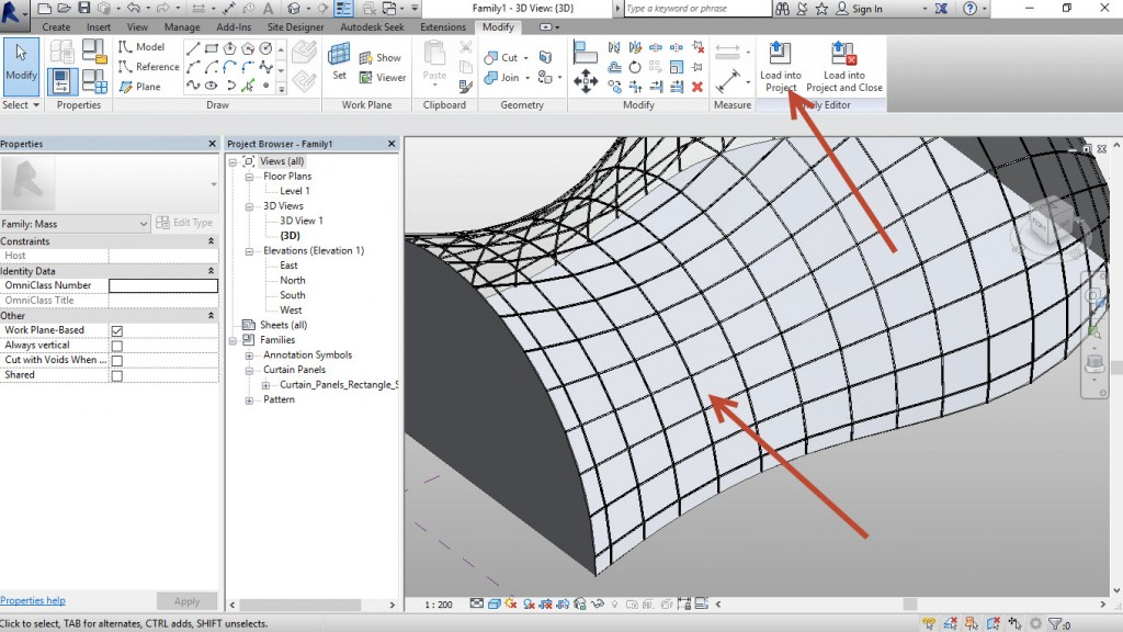 14-The-adaptive-components-fits-to-each-segment-Load-into-Project.-1024x576 Creating an adaptive mass model in Revit