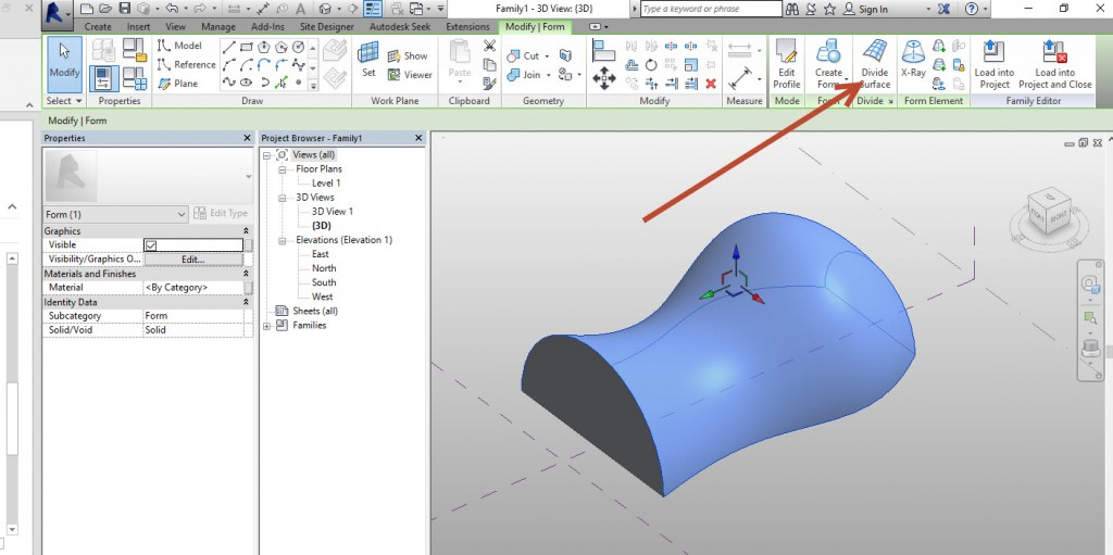 2-devide-surface-1024x511 Creating an adaptive mass model in Revit