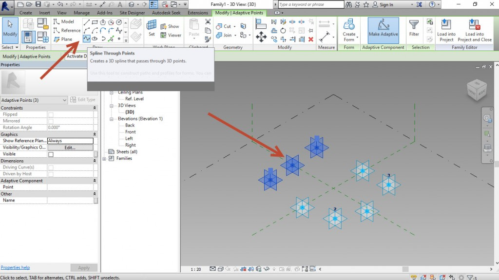 6-Select-3-points-and-create-a-Spline-throught-points-1024x575 Creating a generic adaptive component in Revit