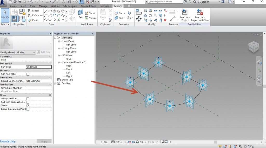 7-Create-4-splines-1024x572 Creating a generic adaptive component in Revit