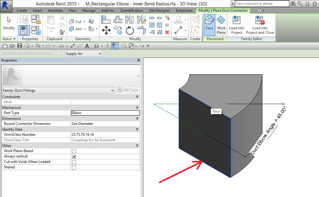 Revit Rectangular Duct Elbow with Specified Inner Bend Radius