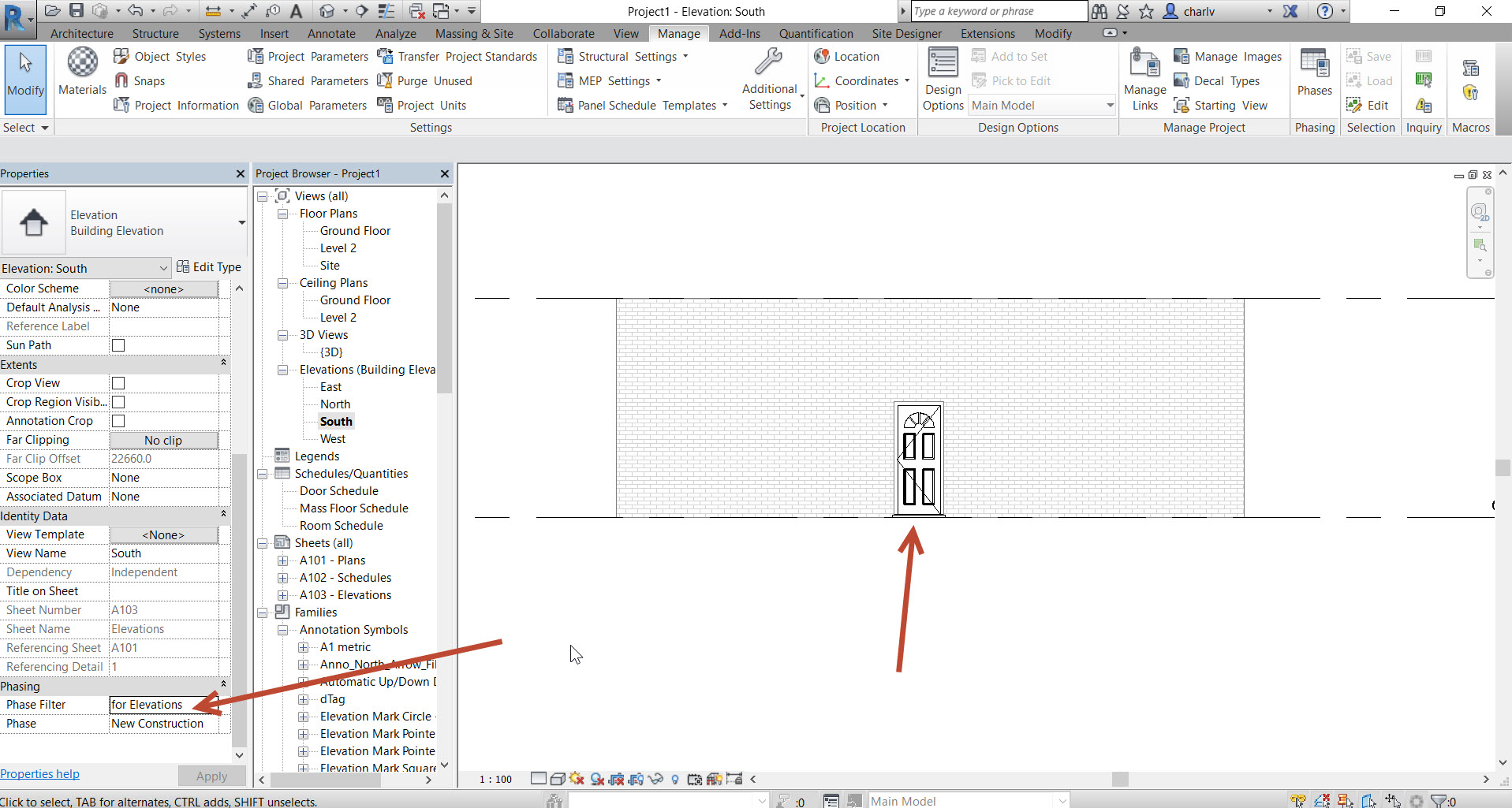 7 In Revit Phasing how do I see a new door in elevation that is placed in an existing wall