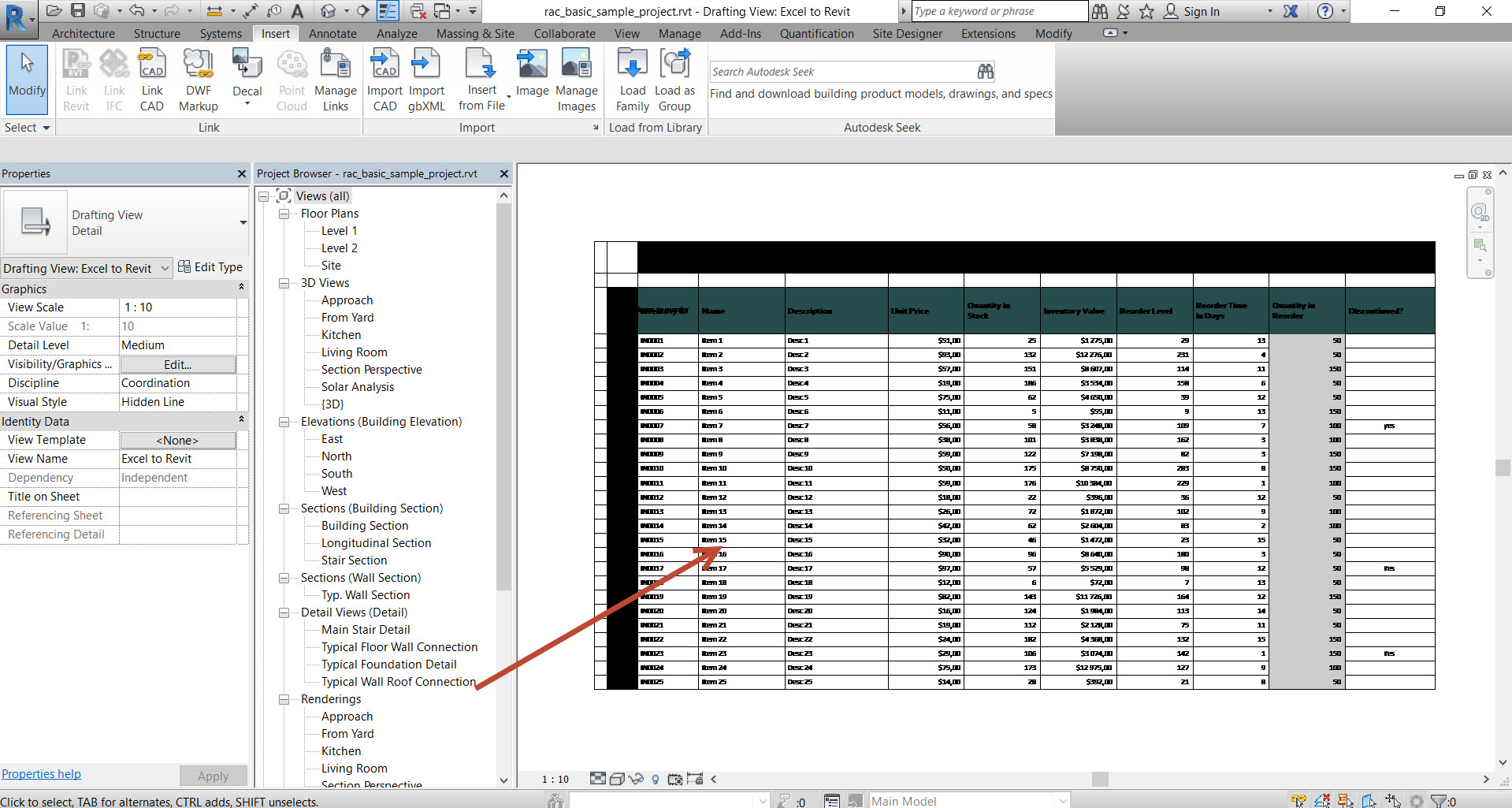 14 How to get an Excel file into Revit