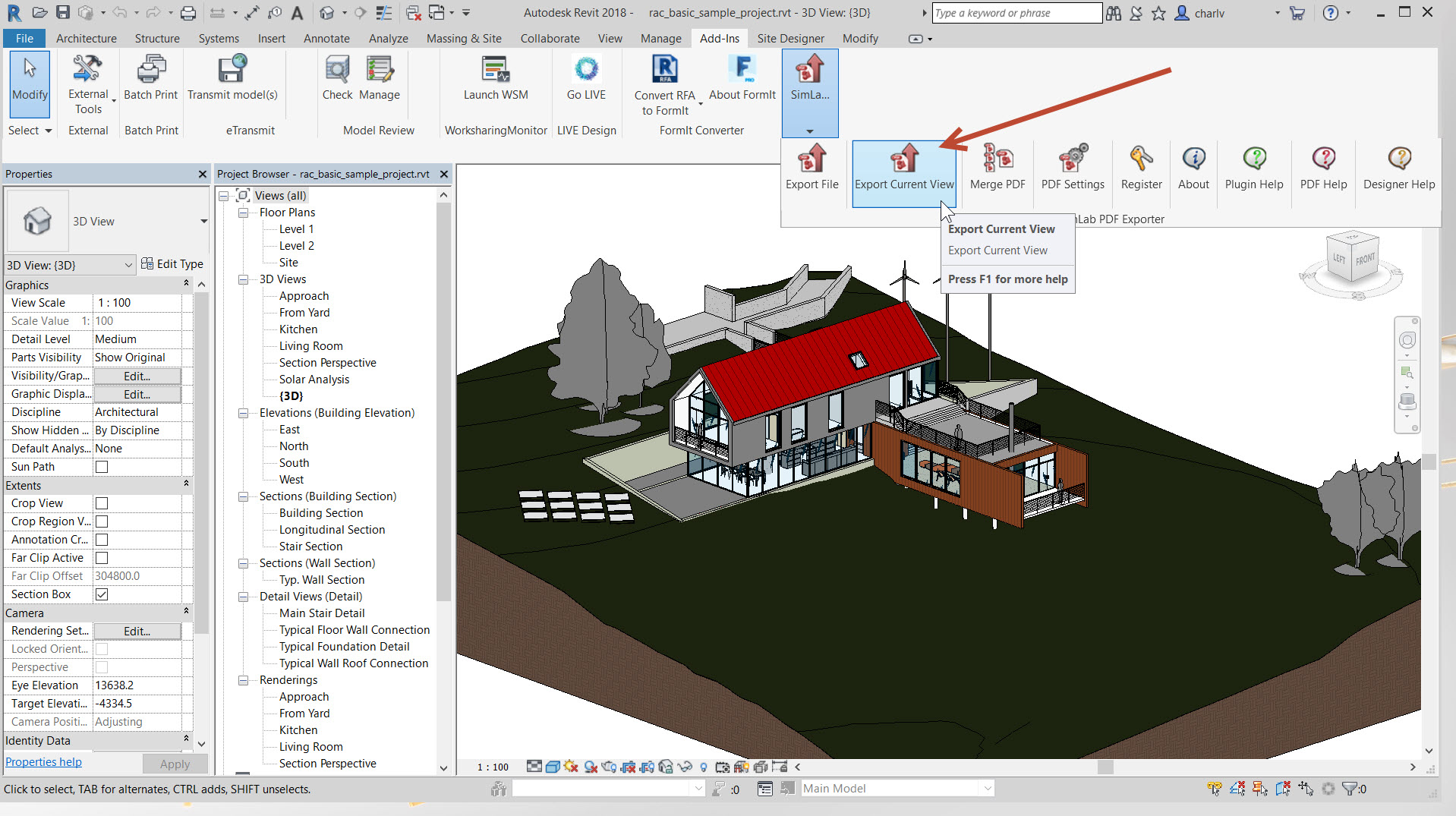 How to change a template in SimLab 3d PDF Exporter for Revit