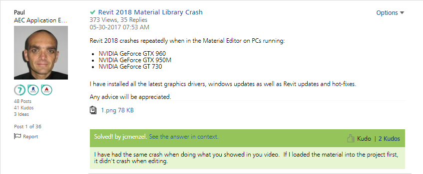 1-2 Revit 2018 - Material Editor Crash