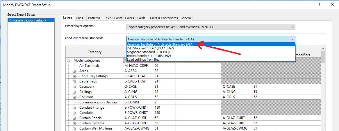 1 Revit DWG Export Setup - International Standards