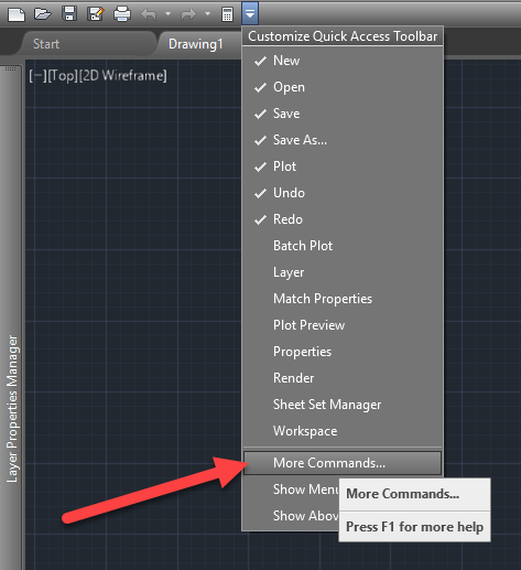 AutoCAD Quick Access Toolbar - More Commands