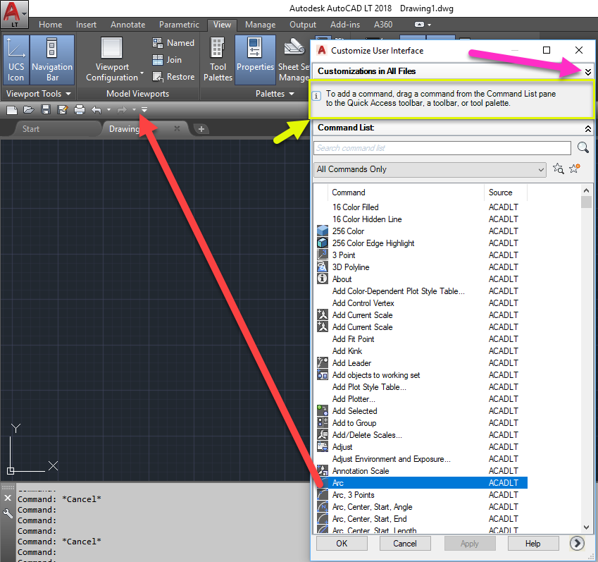 2-1 AutoCAD Quick Access Toolbar - More Commands