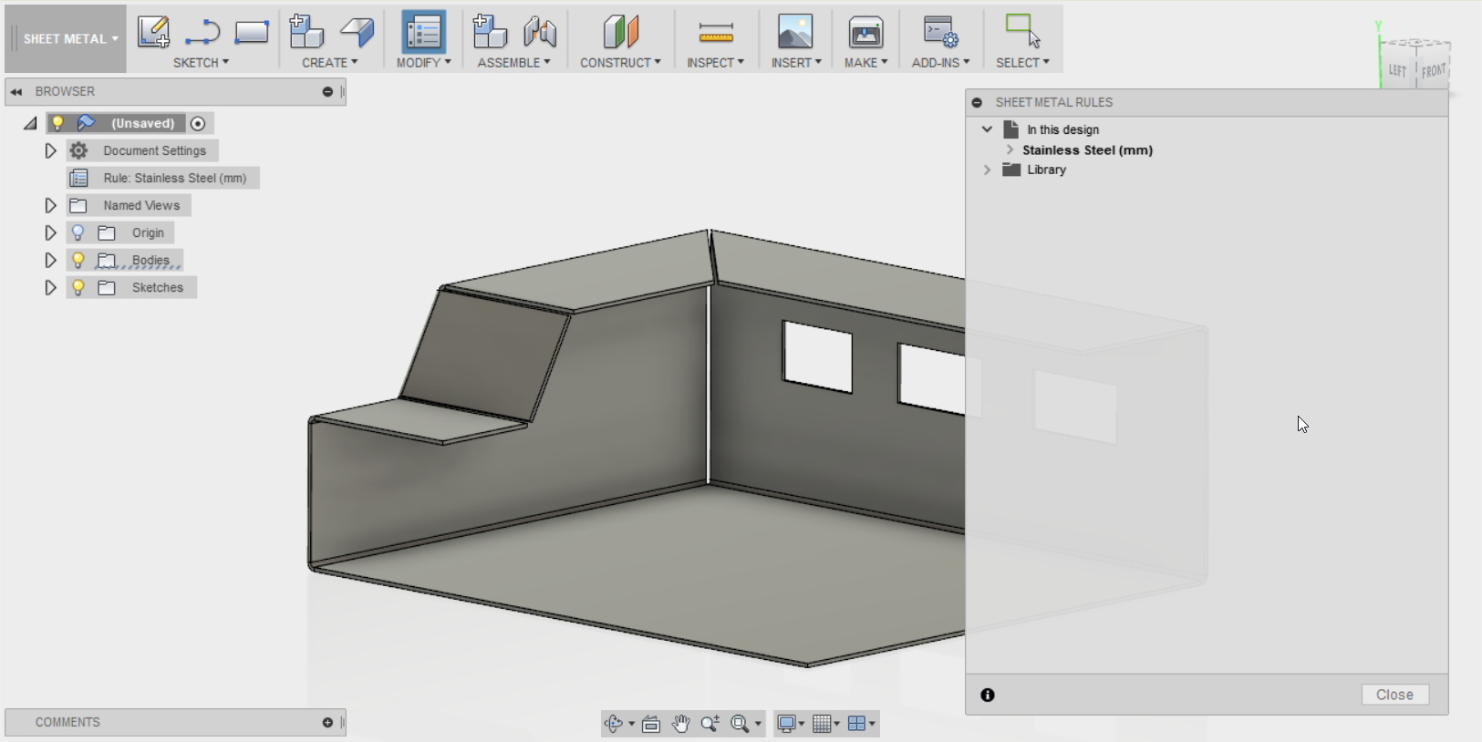 Fusion 360 - Sheet metal settings and what is available    so far
