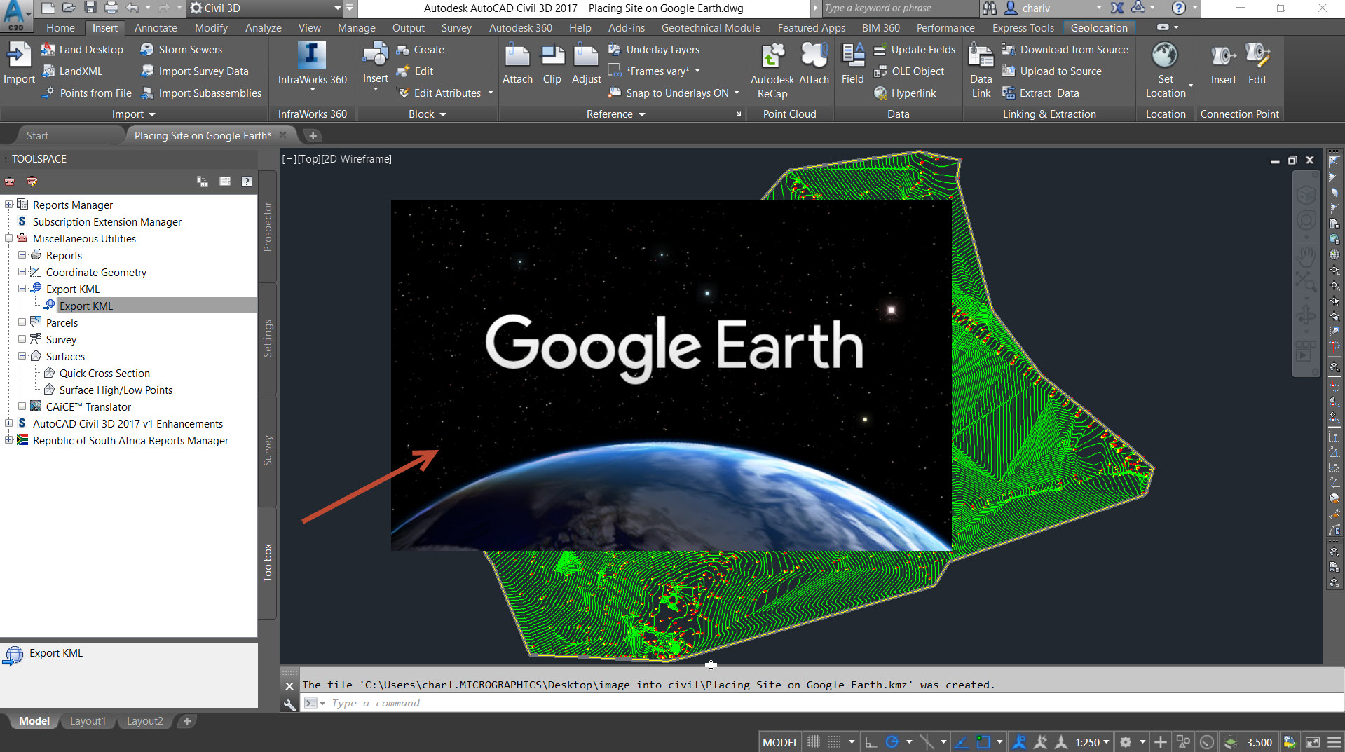 12 How to get a Civil3D surface into Google Earth to validation its position