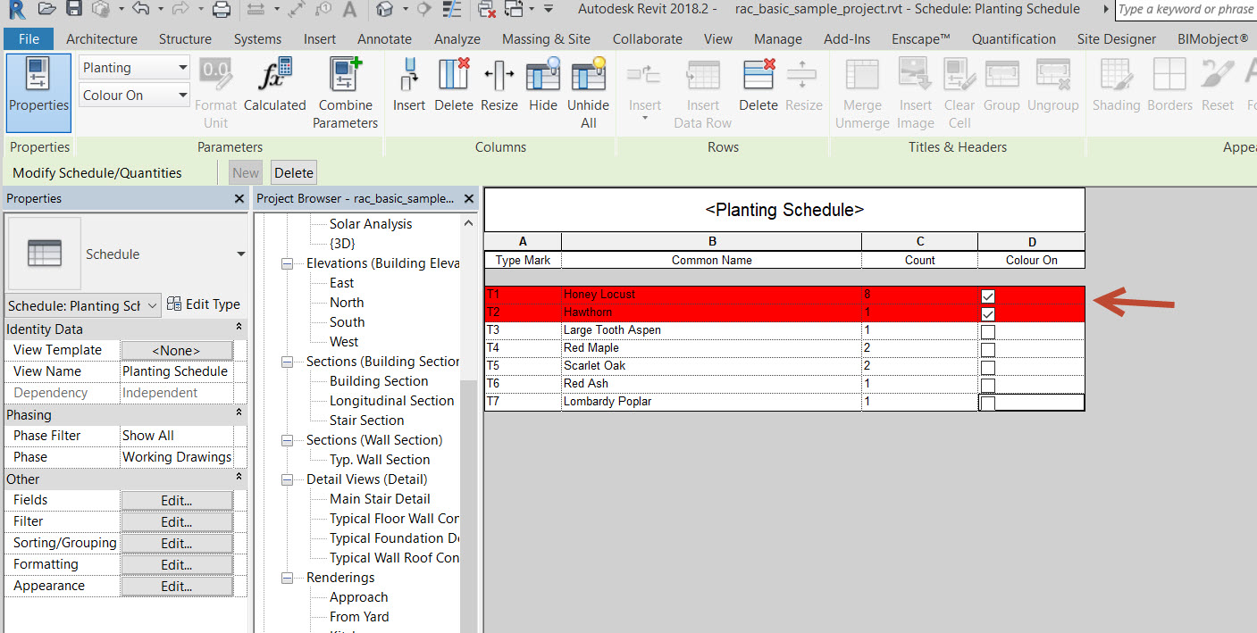 How to manually highlight rows within a Revit schedule with