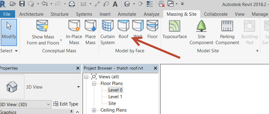 15a How to create a thatch roof in Revit