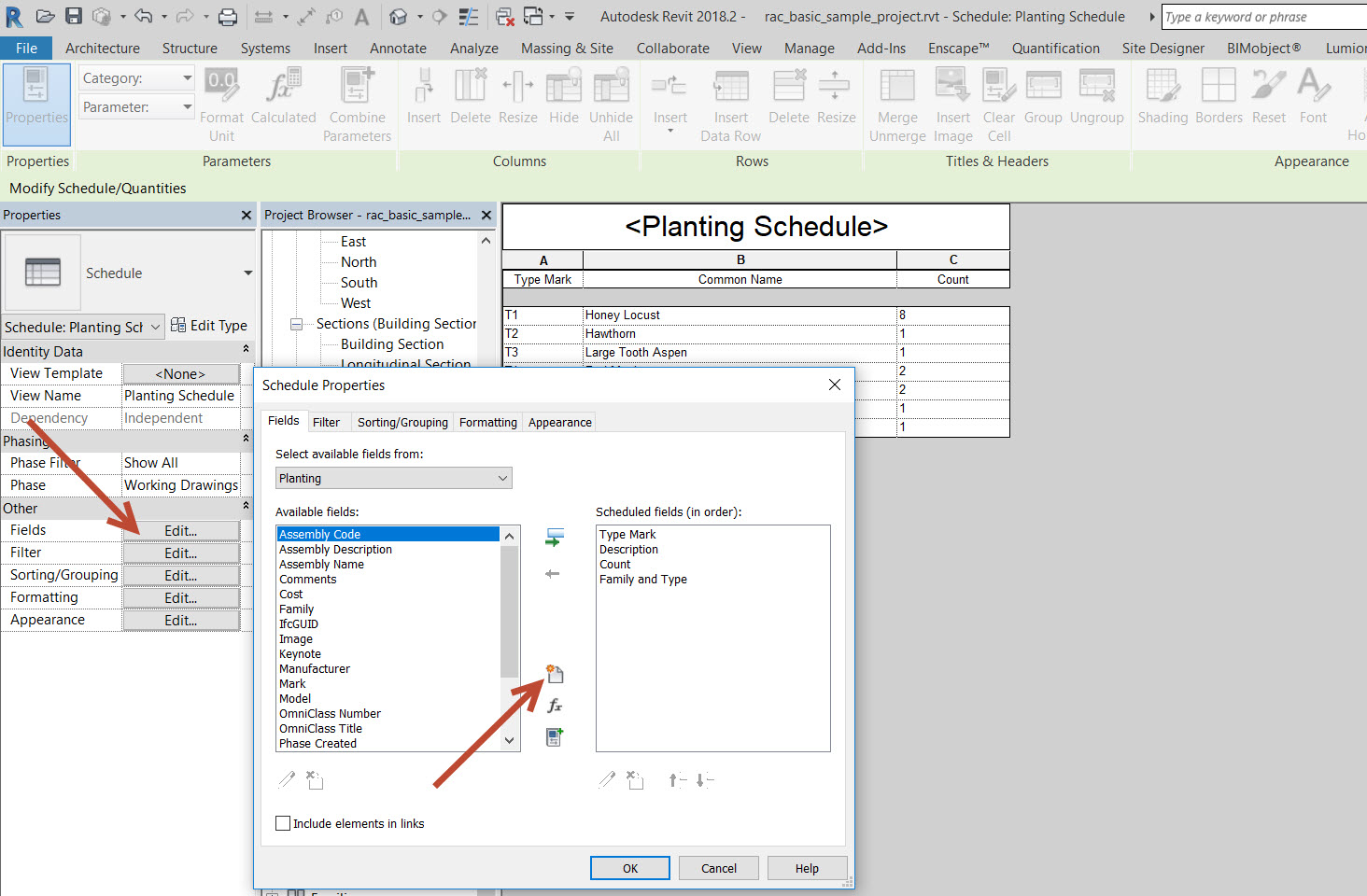 How to manually highlight rows within a Revit schedule with colour