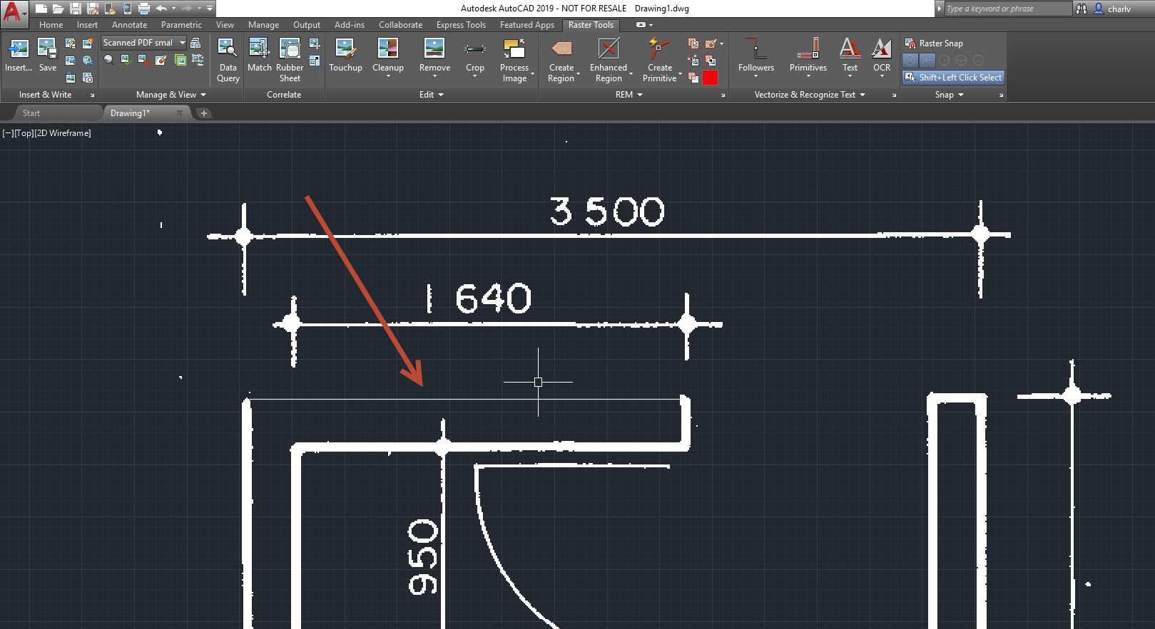 How do I convert a scanned floor plan PDF to AutoCAD line drawing?