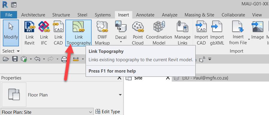 Revit Link Civil 3D Published Surface