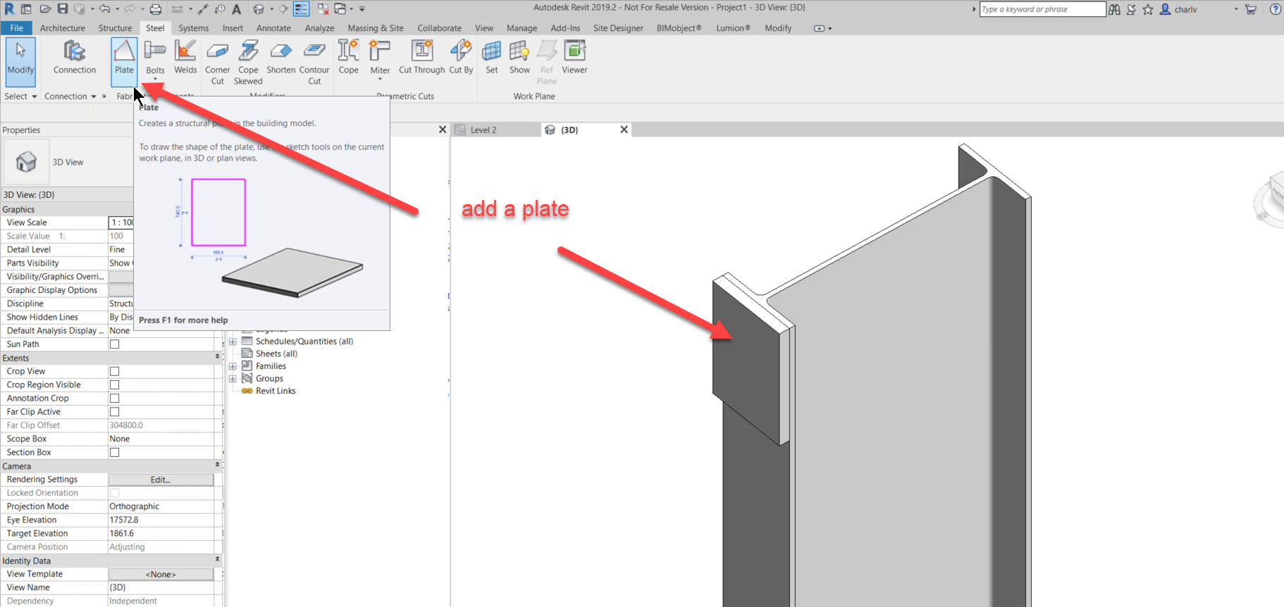 step-2-add-a-plate-to-be-fixed How to add a set of bolts in Revit