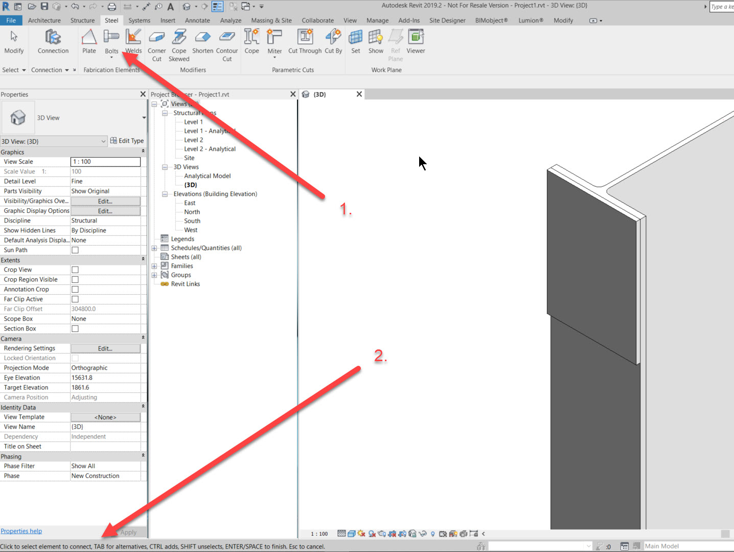 step-3a How to add a set of bolts in Revit