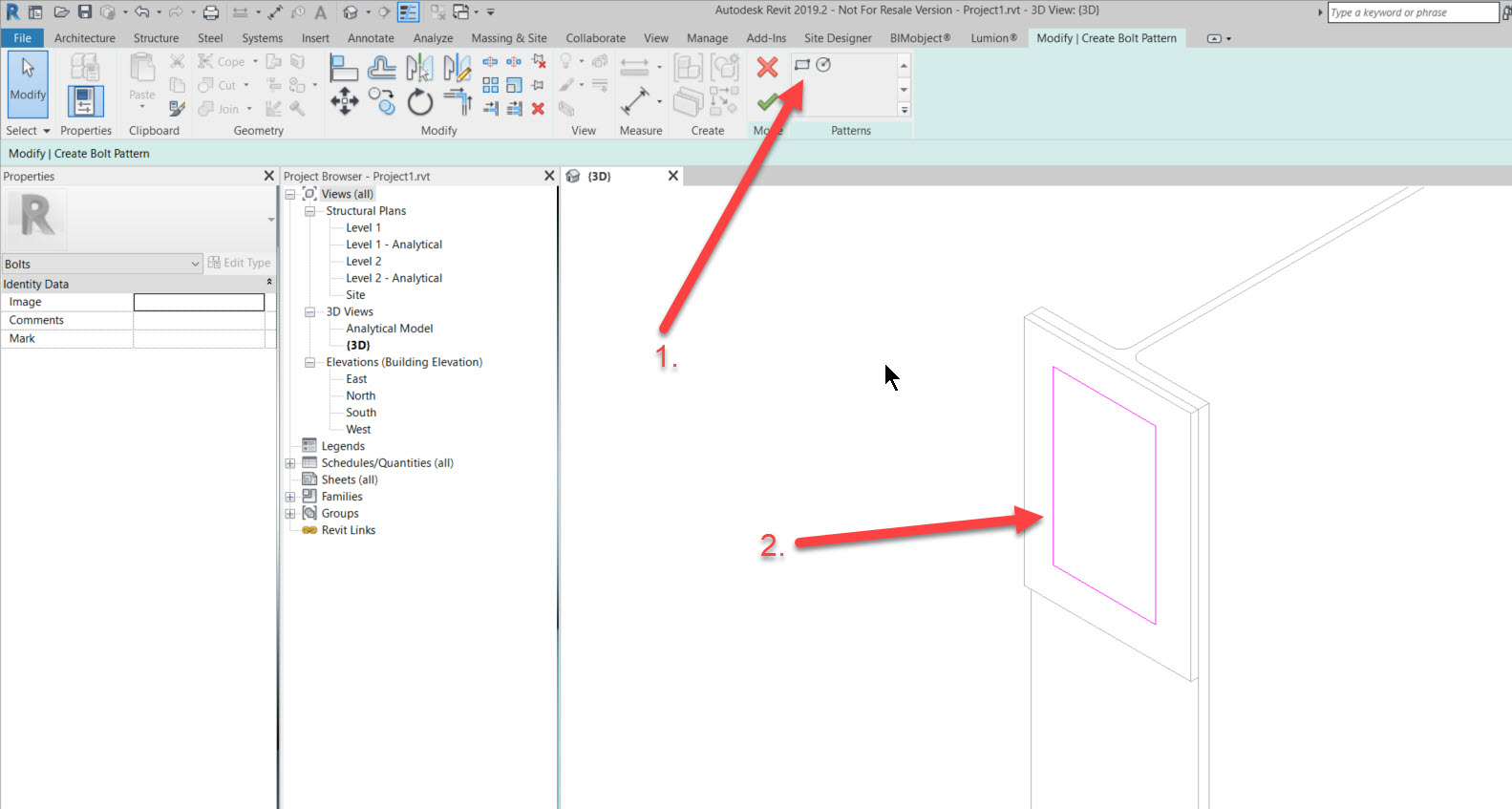 step-3c How to add a set of bolts in Revit