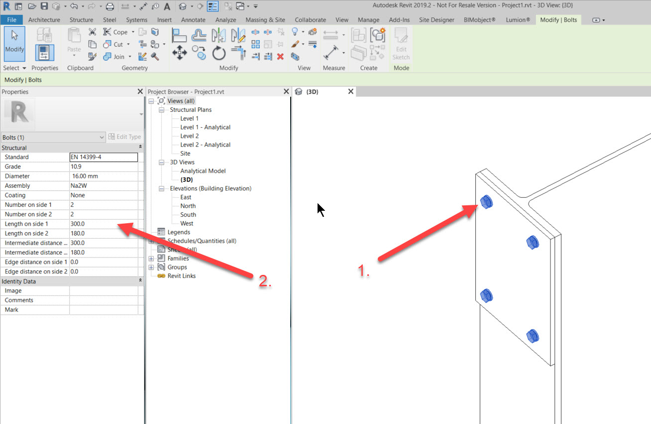 step3e How to add a set of bolts in Revit