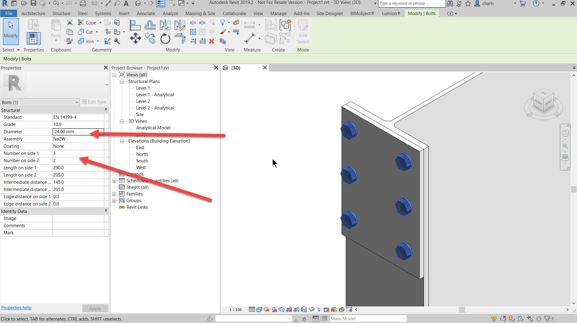 step6 How to add a set of bolts in Revit