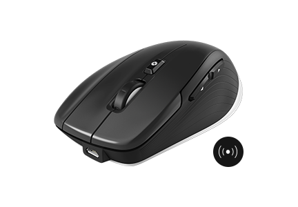 The compact wireless mouse with a high precision, energy saving optical sensor with 7.200 dpi and a battery life up to 2 months.