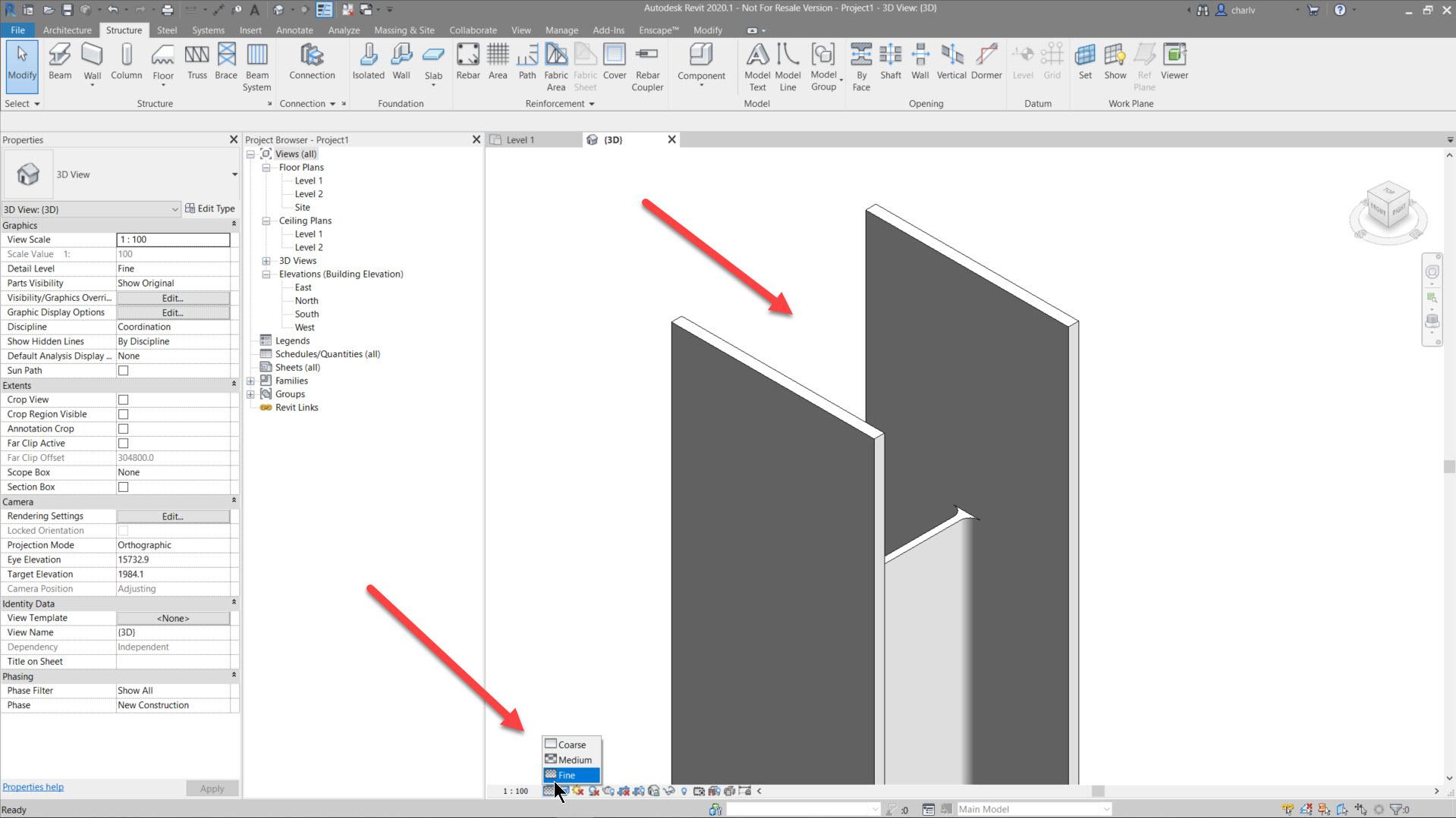 Contour-Cut-11.-cut-in-Fine-LOD Revit Steel Contour Cut issue