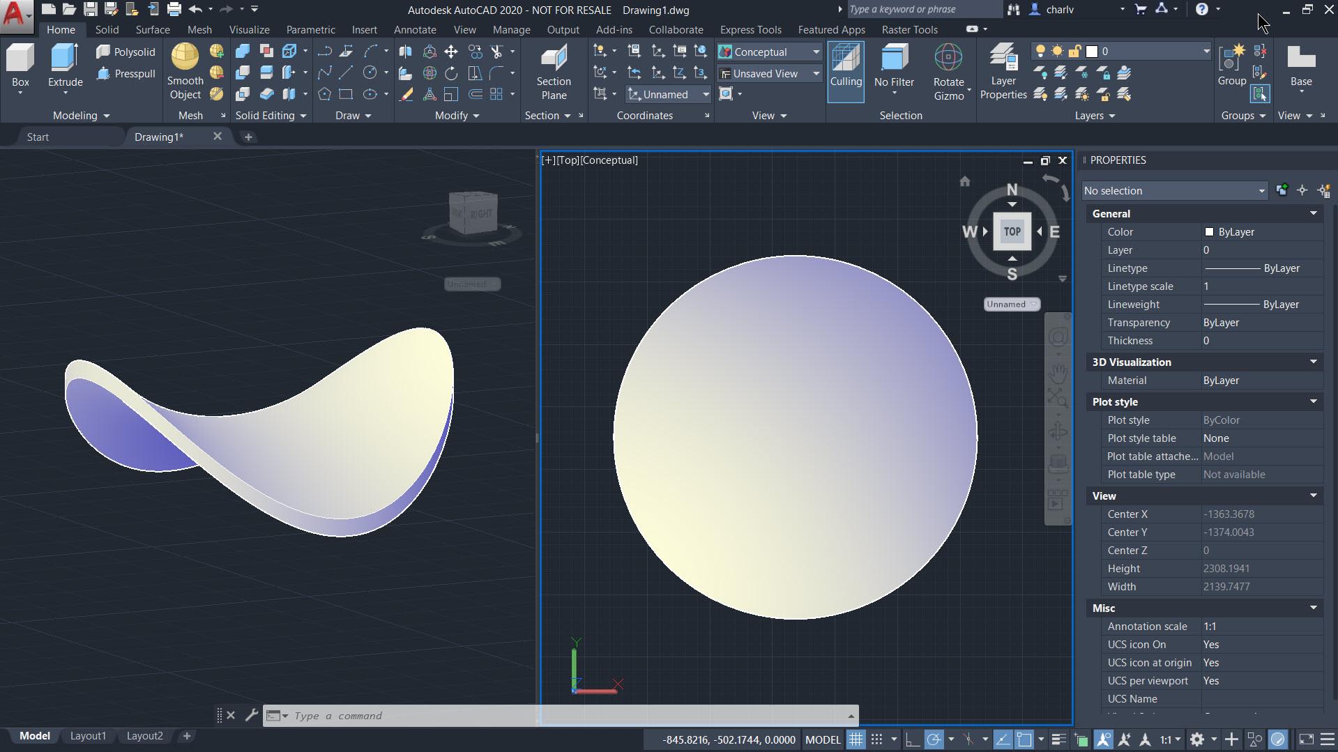 1. 3D curved shape - result