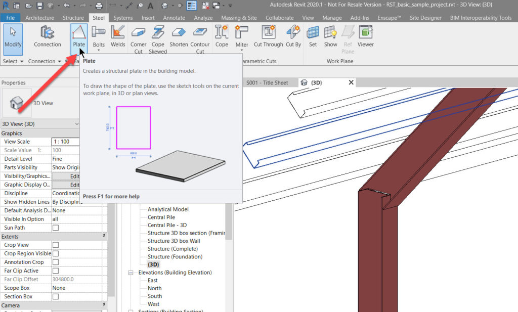 Custom Steel Connection - 3 - create plate