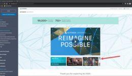 The recent Autodesk University 2020 - 1 home screen