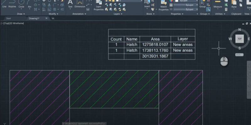 How to add up areas of hatch objects using table tool in AutoCAD - featureed image