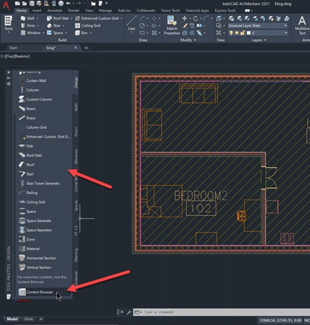 How to create a room content schedule in AutoCAD Architecture - 2 tool palette