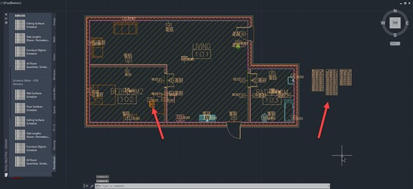 How to create a room content schedule in AutoCAD Architecture - 4 Ids assigned