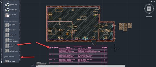 How to create a room content schedule in AutoCAD Architecture - 5 Schedule placed