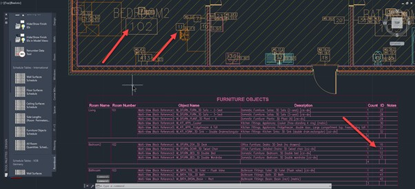 How to create a room content schedule in AutoCAD Architecture - 6 Result