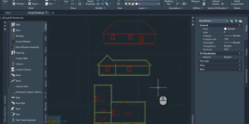 How to add plan section and elev to Building in ACAD arch -features image