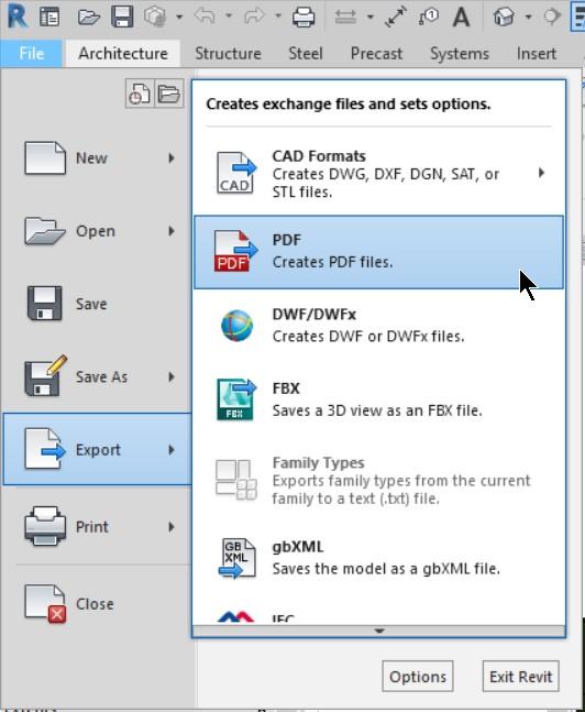 PDF Export -1 menus