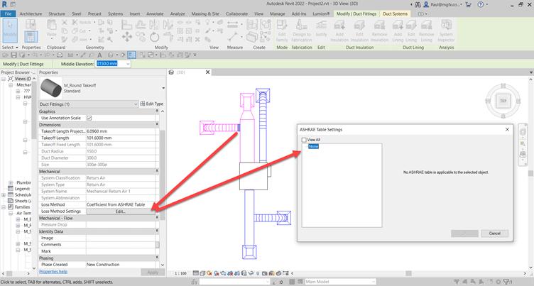 Autodesk, Micrographics, Revit 2022, MEP Duct Fittings Loss Factors, ASHRAE, Limitations
