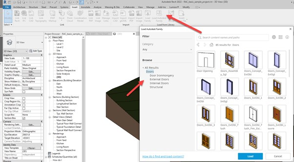 Revit 2022 content 6 Load Family tool