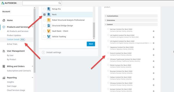 Revit 2022 content 8 Custom Install settings